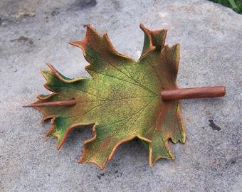 Autumn Oak Leaf Leather  Hair Cup