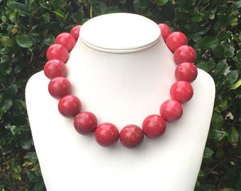 Red Turquoise Necklace Red Statement Necklace Large Red Gemstone Necklace Big Bead Necklace Red 25mm STATEMENT Necklace Large Red Beads