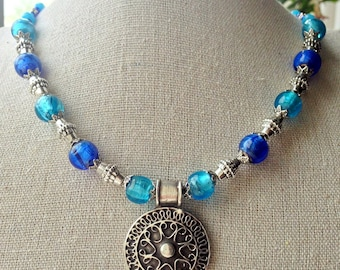 """Beaded necklace with large ethnic pendant, blue and silver, 19"""""""