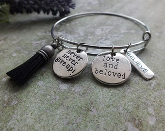 Never Give Up Bracelet Condolence ,Inspiration Bracelet, Motivational Jewelry, encouragement gift, get well gift, addiction recovery jewelry
