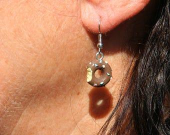 Chocolate donut shaped Pearl Earrings