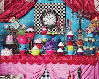 Alice In Wonderland Photography Backdrop, Mad Hatter, Fairy Tale, Drink Me, Painting Roses, Playing Cards, Tea Party, Queen, Hearts, Fleece