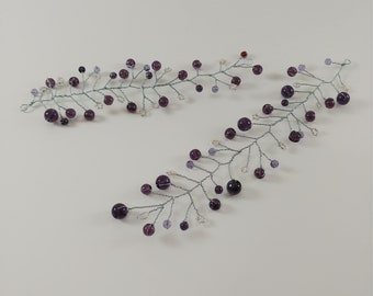 Purple and Silver Hair Vines