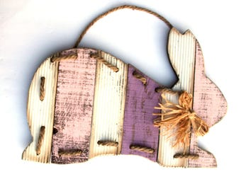 Easter Bunny Wood wall hanging, primitive wooden rabbit, Easter Rabbit, pink purple white, Easter Decor, rustic, spring door decor
