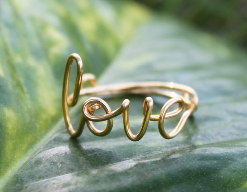 Gold Wire Love Ring Adjustable Band Dainty Ring