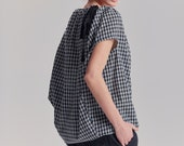Plaid Boatneck Top / Loose Blouse / Modern Casual Top / Handmade / Elegant Cottoned Top / Loose Plaid Blouse by AryaSense / TBLN17KR