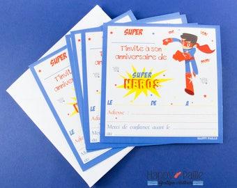 Super Hero birthday invitations