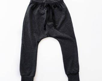 unisex baby charcoal gray harem pants, boy or girl dark gray leggings, grey toddler pants, toddler harems, baby joggers, trendy baby clothes