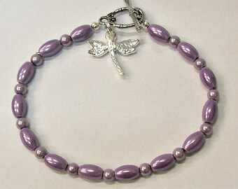 Magnetic Purple Beads with Dragonfly Charm