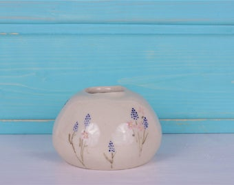 Small round vase with floral pattern-round vase floral-small vase floral pattern-hyacinths-hand painted-production on order