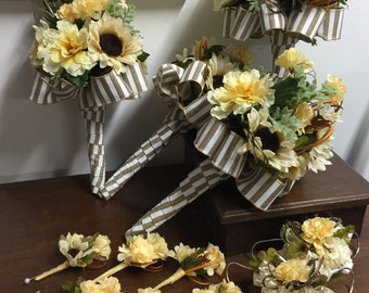 Natural Rustic Bridal Bouquet Set of 12