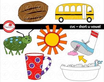 CVC Short U Vowel Clipart: Digital Image Set (300 dpi) School Teacher Clip Art Early Reading Picture Alphabet