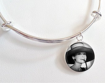 Audrey Hepburn Charm Bracelet - Breakfast at Tiffany's Charm Bracelet- Audrey Hepburn black and white photo with hat