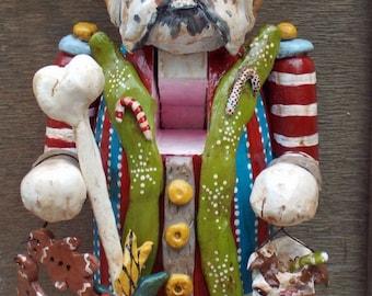 Custom Order Nutcracker Dog Doll English Bulldog Ooak Folk Art Whimsical