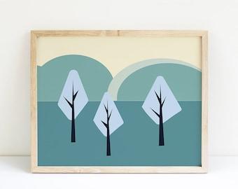 Trees Abstract LandscapePrintable Art, LandscapeNursery Decor, Modern Wall Art, Nature Inspired Art Prints'Wall Decor