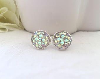 Crystal Stud Earrings - Silver Earring Studs - Druzy Stud Earrings - Trendy Earrings for Girls - Sparkly Earrings - Post Earrings