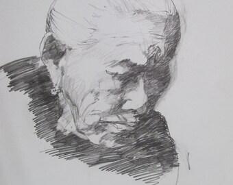 sketch old-woman drawing - artist Linda Hunt South Carolina - graphite - paper art - representational drawing - black - gray, portrait art