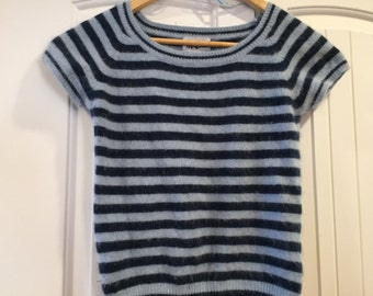 Striped cropped t-shirt in wool and nylon - size Small