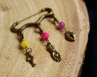 Kindness is Key Stitch Marker Pendant Pin or Set - Knit and Crochet Notions Stitch Markers