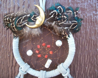 Dream Catcher Man in the Moon with Wrapped beads and Pheasant feathers