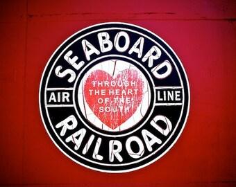 Train Room Decor, Train Wall Decor, Deep Red Train Car Photograph, Railroad Crossing Print, Seaboard Railroad