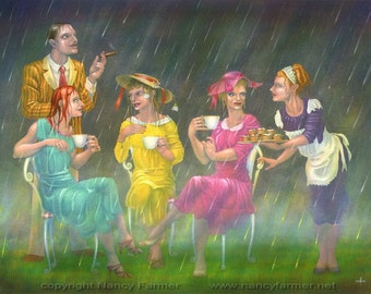 "SALE! - ""Tea on the Lawn"" - fantasy art print"