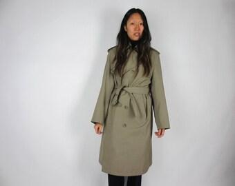 Khaki trench coat / S-L / vintage Misty Harbor classic traditional mac belted long jacket raincoat epaulets knee length