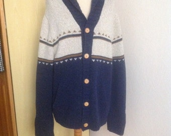 Dark Blue Cream Shawl Cardigan Wool Sweater Mens Large