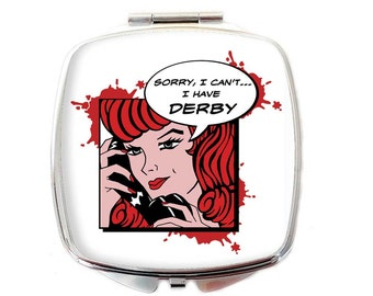Roller Derby Compact Mirror - Gift for Roller Derby Addict - Roller Girl  Pocket Mirror - Roller Derby Gift - Roller Girl Gift - Derby Geek