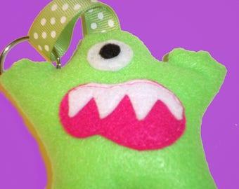 Gary The Green Felt Stuffed Animal Monster Key Chain