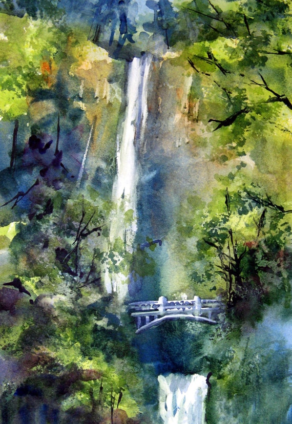 Multnomah Falls 4 -- a signed print of a watercolor by Columbia Gorge artist Bonnie White