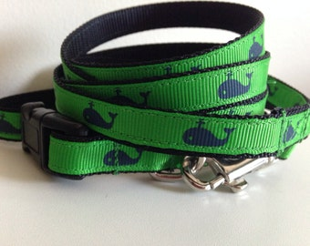 Small 1/2 Inch Green with Blue Whale Leash and Collar Set