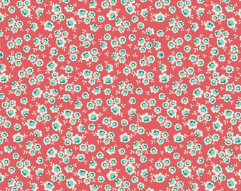 La Vie Boheme - Roses Pink - Riley Blake - The Quilted Fish - Small Floral - Cotton Fabric- C4745 - Aqua and Coral Roses Floral Fabric