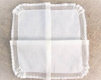 Vintage Handkerchief ~ White Net Lace ~ Wedding Hankie ~ Bridal Shower ~ Clothing Accessories ~ Gift for Her