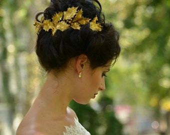 Gold wedding crown, wedding bridal tiara wedding tiara bridal halo gold tiara Floral Headband Gold Leaf Tiara Gold Crown floral headband