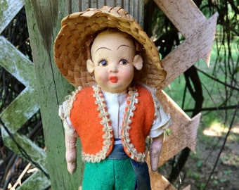 Vintage Italian doll, cloth, male, peasant costume, hand painted face