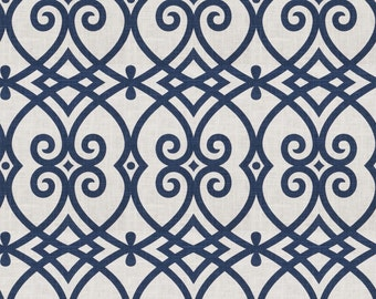 Up to 10% off Custom Drapes- Lattice Geometric Drapes,*Royal II* Navy, Coral, Cotton-Linen,Drapery Panels, Made-to-Order