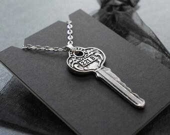 Sherlock 221B Baker Street key necklace / pendant on silver tone chain / BBC Sherlock cosplay prop / convention accessory