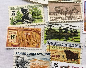 35 vintage stamps, Wild West, Used Stamps, Postage Stamps, Cowboy, American Frontier, Pioneers, Mountain Men