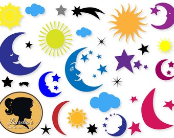Moon, Moon svg , star , Sky, Cloud Svg, Shooting Svg, Sun Silhouette, SVG files for Silhouette ,vector, dxf eps