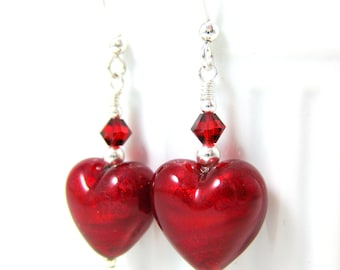 Red Heart Earrings, Valentine's Day Jewelry, Valentine's Earrings, Murano Earrings, Romantic Earrings, Valentine's Gift for Her - Love