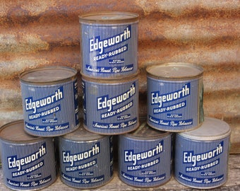 Collection of 8 Original Vintage Edgeworth Pipe Tobacco Containers Metal Canister Storage Can vtg Advertising Cans Rustic Decor Retro Tins
