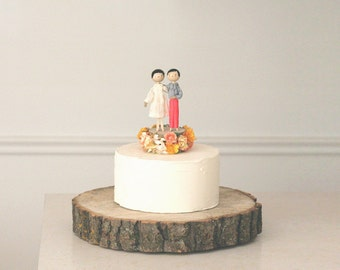 Custom Same Sex Wedding Cake Topper with 2x CUSTOM CLOTHING