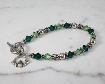Sterling Silver Swarovski Crystal Celtic Irish Claddagh Bracelet