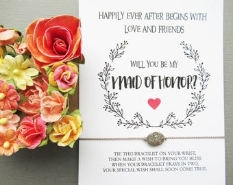 will you be my Maid of Honor,Maid of Honor proposal,wish bracelet,Maid of honor bracelet,will you be my Maid of honor gift
