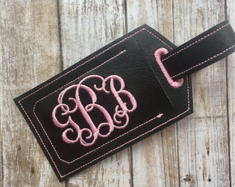 Monogram luggage tag - personalized luggage tag - travel accessories - faux leather luggage tag - groomsman gift - bridesmaid gift