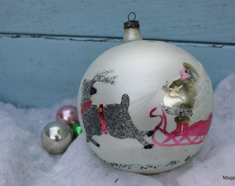 Vintage Christmas Ornament , Large with Santa in Sleigh, Reindeer and Frosted Trees