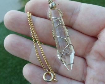 Crystal Necklace, Handmade, Wire Wrapped Jewelry, Crystals, Acrylic, Costume Jewelry, Gift