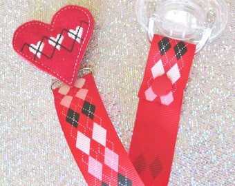 Pacifier Clip Argyle Valentine red heart love Paci Soother Nook Binky Valebinky Holder trendy heart girl new baby shower gift LOOP OR SNAP