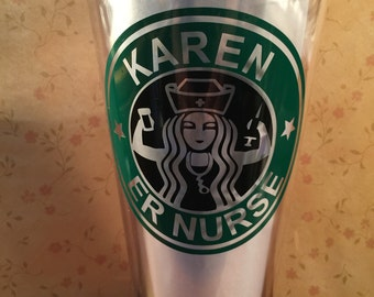 """NEW** Personalized 32 oz Double Wall Acrylic Tumbler """" Starbuck """" Inspired Nurse"""